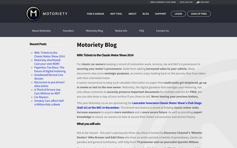 Screenshot of Blog motoriety.co.uk - Motoriety - captured Nov. 3, 2014