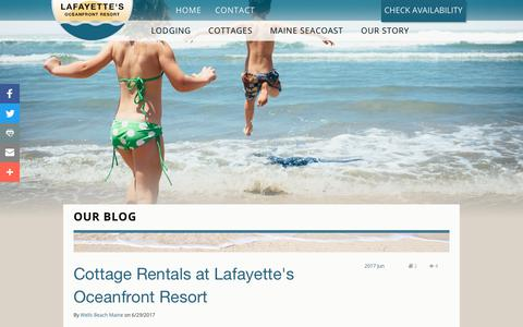Screenshot of Blog wellsbeachmaine.com - Lafayette Oceanfront Resort > Our Story > Blog - captured July 12, 2017