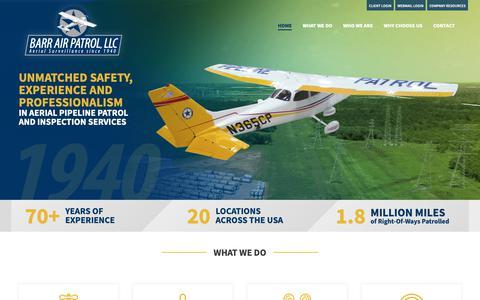 Screenshot of Home Page barrairpatrol.com - Aerial Pipeline Inspection & Patrol Services   Barr Air Patrol - captured Nov. 13, 2018