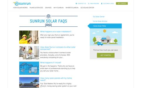 Screenshot of FAQ Page sunrun.com - Go Solar Center FAQ   Sunrun - captured Dec. 4, 2016