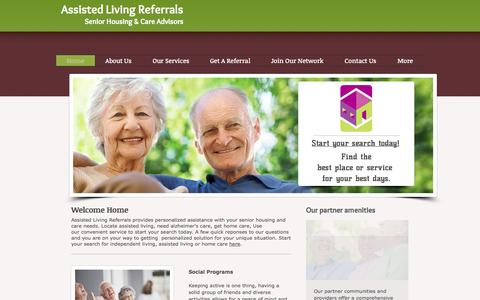 Screenshot of Home Page assistedlivingreferrals.com - Assisted Livng Referrals, get assisted living and home care - captured Sept. 30, 2014