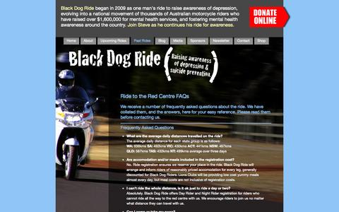 Screenshot of FAQ Page blackdogride.com.au - Ride to the Red Centre FAQs - captured Sept. 30, 2014