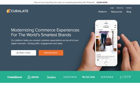 Screenshot of Home Page curalate.com - Curalate - Visual Commerce and Marketing Solutions - captured Feb. 12, 2017
