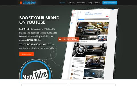 Screenshot of Home Page clipster-video.com - Clipster - Create a YouTube brand channel gadget - captured Sept. 25, 2014