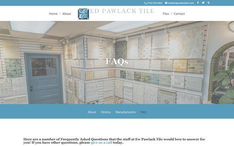 Screenshot of FAQ Page edpawlacktile.com - FAQ - Ed Pawlack Tile - captured Nov. 10, 2018