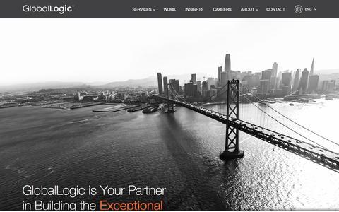 Screenshot of Home Page globallogic.com - Digital Product Engineering Services  | GlobalLogic - captured Feb. 18, 2020