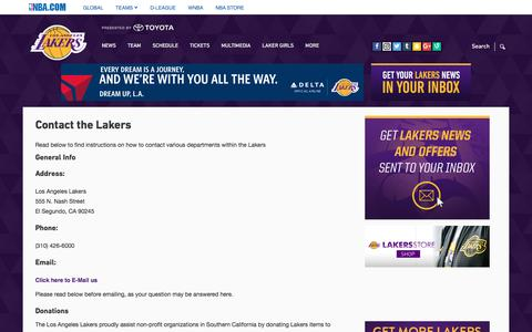 Screenshot of Contact Page nba.com - Contact the Lakers | Los Angeles Lakers - captured June 29, 2016