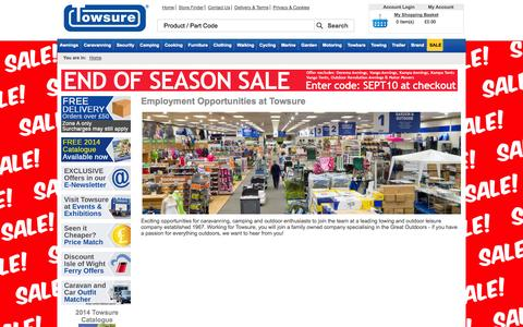 Screenshot of Jobs Page towsure.com - Employment Opportunities at Towsure - captured Sept. 22, 2014
