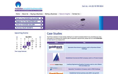 Screenshot of Case Studies Page evolutioncbs.co.uk - Successful UK Business Sales Case Studies | Evolution CBS | Evolution CBS - captured Oct. 3, 2014