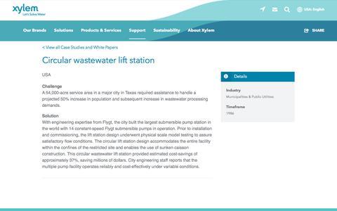 Screenshot of Case Studies Page xylem.com - Case Study: Circular wastewater lift station   Xylem US - captured Nov. 9, 2019