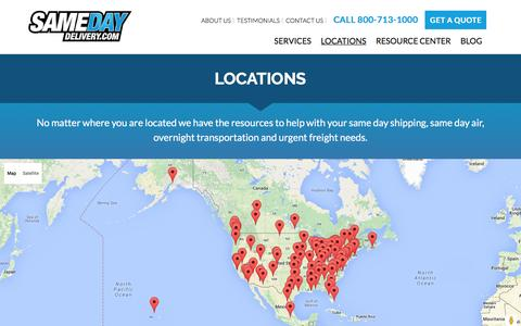 Screenshot of Locations Page samedaydelivery.com - Same Day Delivery Services Across USA and Canada | View Our locations - captured July 23, 2016