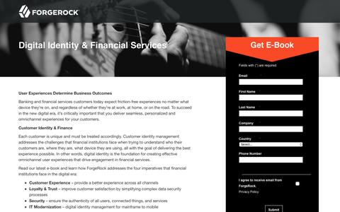 Screenshot of Landing Page forgerock.com - Digital Identity Management - Foundations of Successful Financial Services - captured March 4, 2018