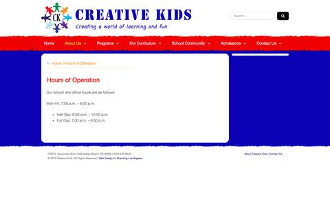 Screenshot of Hours Page creativekidsmanhattanbeach.com - Hours of Operation - Creative Kids Manhattanbeach - captured Dec. 10, 2017