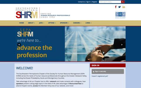 Screenshot of Home Page sepashrm.org - Southeastern Pennsylvania Chapter of the Society for Human Resource Management (SEPA SHRM) - captured May 25, 2017