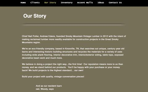 Screenshot of About Page woodwithastory.com - About Smoky Mountain Vintage Lumber - captured Sept. 3, 2019