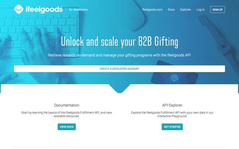 Screenshot of Developers Page ifeelgoods.com - Ifeelgoods for developers - captured Sept. 23, 2018