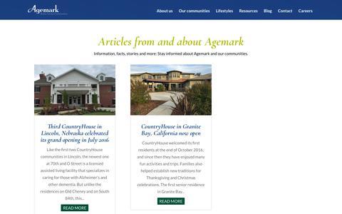 Screenshot of Blog Press Page agemark.com - News and Articles | Agemark Senior Living - captured July 29, 2018