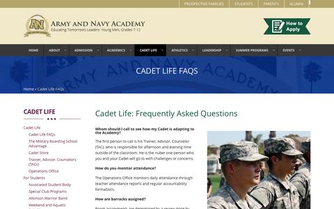 Screenshot of FAQ Page armyandnavyacademy.org - Frequently Asked Questions | Army and Navy Academy - captured May 30, 2017