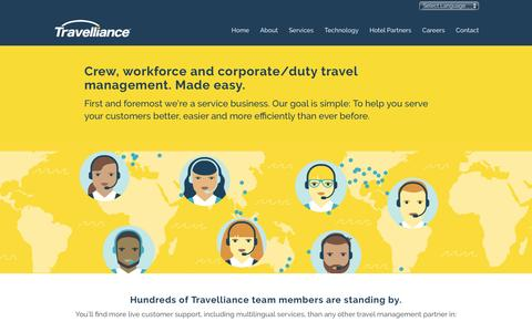 Screenshot of Services Page travellianceinc.com - Corporate Travel Management - Travelliance - captured Dec. 13, 2016