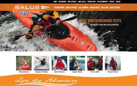 Screenshot of Home Page salusmarine.com - Salus Marine | Life Jacket Personal Flotation Devices - captured Oct. 4, 2014