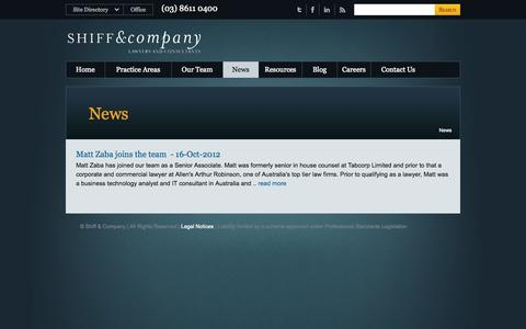 Screenshot of Press Page shiffco.com.au - News from Melbourne Lawyers Shiff and Company - captured Oct. 9, 2014