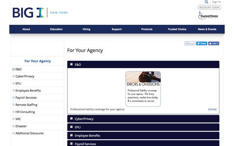 Screenshot of Products Page biginy.org - For Your Agency - For Your Agency - captured July 10, 2018