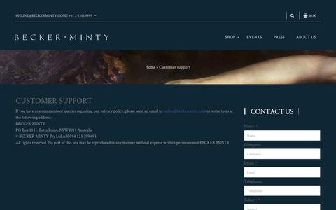 Screenshot of Support Page beckerminty.com - Customer support - Becker Minty - captured July 31, 2018