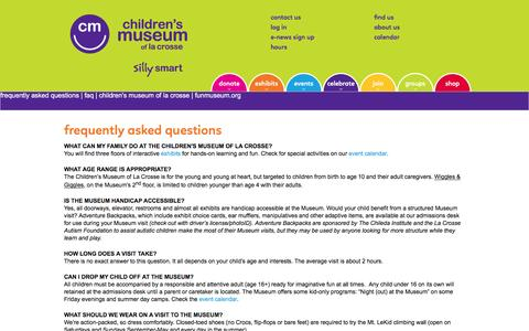 Screenshot of FAQ Page funmuseum.org - frequently asked questions | faq | children's museum of la crosse | funmuseum.org - Children's Museum of La Crosse - captured Jan. 27, 2016