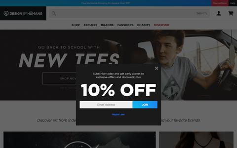 Screenshot of Home Page designbyhumans.com - Graphic Tees, Cool T Shirt Designs For Men And Women - DesignByHumans - captured Aug. 15, 2019