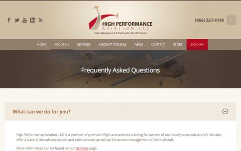 Screenshot of FAQ Page flyhpa.com - Frequently Asked Questions | High Performance Aviation, LLC - captured Aug. 11, 2017