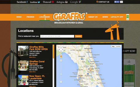 Screenshot of Locations Page giraffas.com - Locations | Giraffas USA - captured Sept. 30, 2014