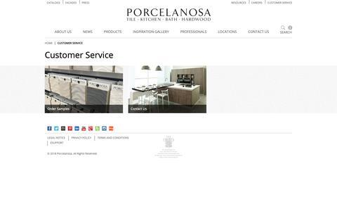 Screenshot of Support Page porcelanosa-usa.com - Customer Service | Porcelanosa - captured Nov. 10, 2018