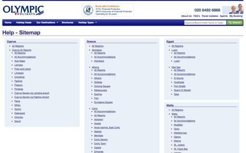 Screenshot of Site Map Page olympicholidays.com - Olympic Holidays - Package Holidays, Deals on Flights and Hotels - captured Sept. 19, 2014
