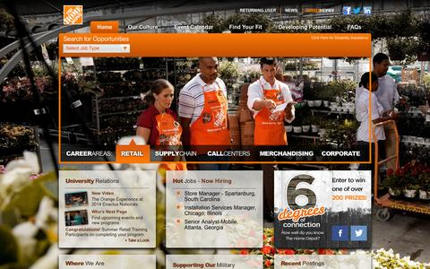 Screenshot of Jobs Page homedepot.com - Home Depot Careers - captured Sept. 19, 2014