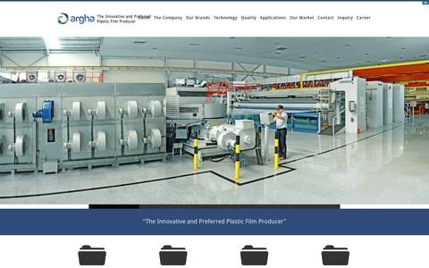 Screenshot of Home Page arghakarya.com - ARGHA KARYA - The Innovative and Preferred Plastic Films Producer - captured Jan. 24, 2016
