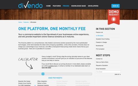 Screenshot of Pricing Page divendo.co.uk - Affordable E-commerce Platform | Divendo E-commerce - captured Oct. 5, 2014