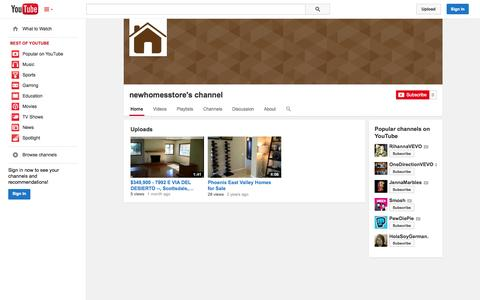 Screenshot of YouTube Page youtube.com - newhomesstore's channel  - YouTube - captured Oct. 29, 2014