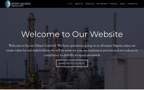 Screenshot of Home Page epoxyoil.com - About Epoxy Oilserv - Epoxy Oliserv Ltd- Producer, Distributor Lubricants, Oilfield chemicals Suppliers in Nigeria - captured Nov. 10, 2018
