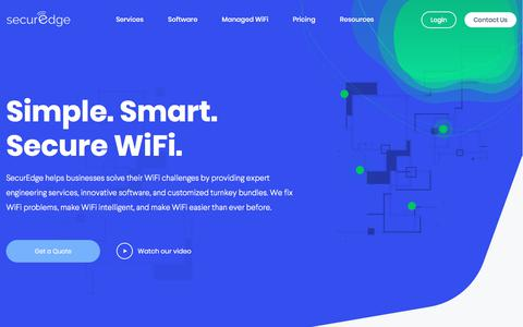 Screenshot of Home Page securedgenetworks.com - Simple, Smart, and Secure WiFi for Businesses - captured Feb. 16, 2020