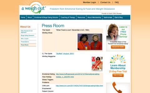 Screenshot of Press Page aweighout.com - Press Room - A Weigh Out - captured Sept. 30, 2018