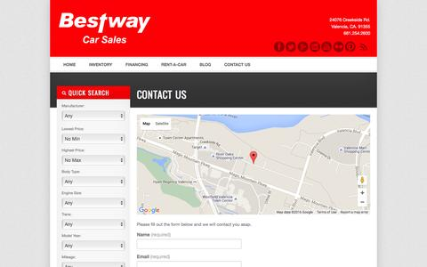 Screenshot of Contact Page bestwaycarsales.com - Contact Us - Bestway Used Car Sales Santa Clarita | Bad Credit Car Loans | Pre Owned Vehicles - captured Feb. 7, 2016