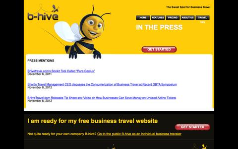 Screenshot of Press Page bhivetravel.com - Press     A Free Business Travel Service from Shorts Travel   BHiveTravel.com - captured Nov. 1, 2014