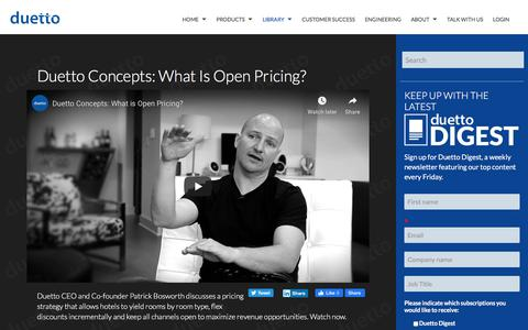 Screenshot of Pricing Page duettocloud.com - Duetto Concepts: What is Open Pricing? - captured Jan. 6, 2020