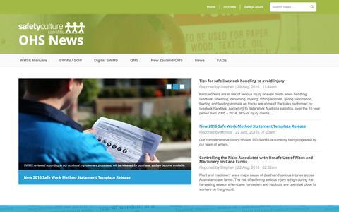 Screenshot of Press Page safetyculture.com.au - OHS News - Australian Safety News - captured Sept. 1, 2016