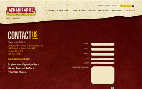 Screenshot of Contact Page genghisgrill.com - Contact Us | Genghis Grill - Build Your Own Stir Fry - captured Oct. 28, 2014
