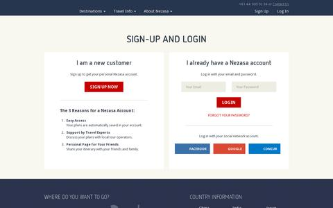 Screenshot of Login Page nezasa.com - Nezasa Login - log in to your travel planning and booking world - captured July 19, 2014