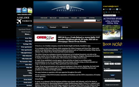 Screenshot of About Page orvas-hotels.com - About Orvas Hotels, Croatia Hotels - captured Oct. 26, 2014