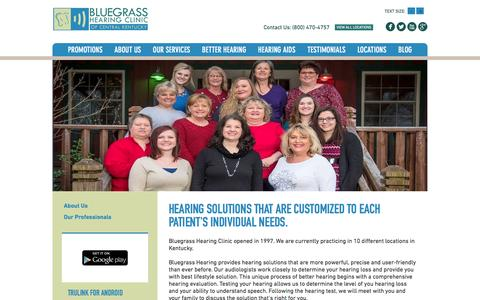 Screenshot of About Page bluegrasshearing.com - About Us, Bluegrass Hearing - captured Nov. 22, 2016