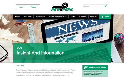 Screenshot of Press Page newpenn.com - News - New Penn - captured Oct. 21, 2017