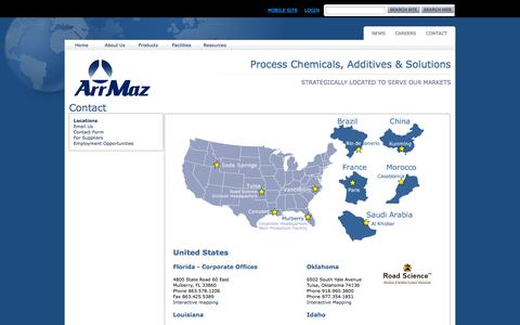 Screenshot of Contact Page Locations Page am-cc.com - ArrMaz Locations - captured Oct. 4, 2014